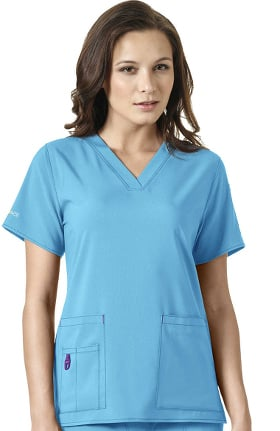 Clearance CROSS-FLEX by Carhartt Women's FORCE V-Neck Media Solid Scrub Top