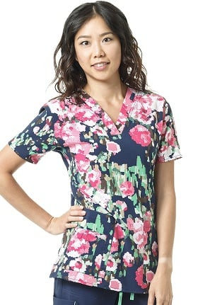 Clearance CROSS-FLEX by Carhartt Women's V-Neck Floral Print Scrub Top
