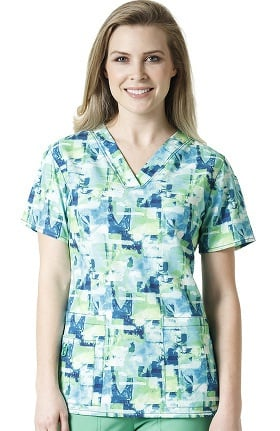 Clearance Cross-Flex by Carhartt Women's V-Neck Coastal Print Scrub Top