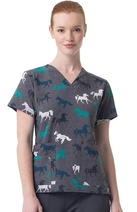 Clearance CROSS-FLEX by Carhartt Women's Gallop Grace Print Scrub Top