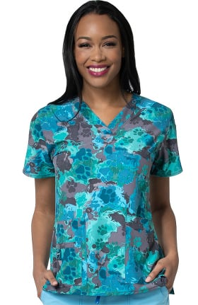 Clearance CROSS-FLEX by Carhartt Women's Puppy Puddle Print Scrub Top