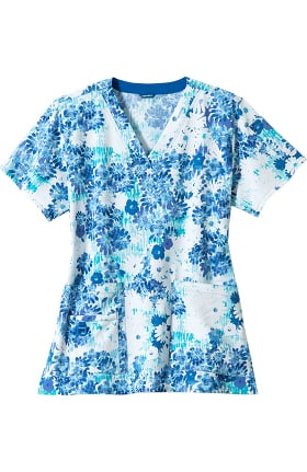 CROSS-FLEX by Carhartt Women's V-Neck Sun Showers Print Scrub Top