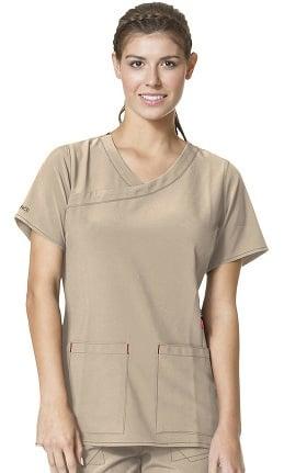 CROSS-FLEX by Carhartt Women's Y-Neck Fashion Solid Scrub Top