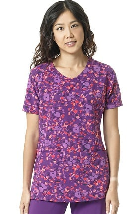 Clearance CROSS-FLEX by Carhartt Women's Y-Neck Floral Print Scrub Top