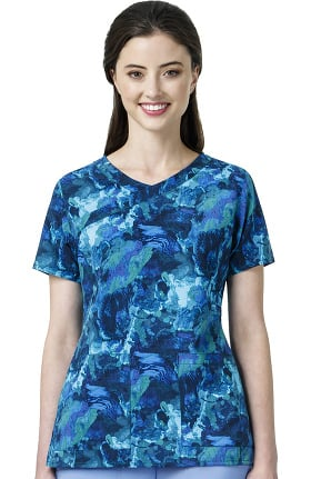 CROSS-FLEX by Carhartt Women's Y-Neck Abstract Print Scrub Top