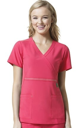 Cross-Flex by Carhartt Women's Knit Mock Wrap Solid Scrub Top