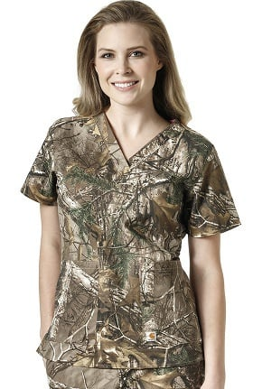 RealTree by Carhartt Women's V-Neck Camo Print Scrub Top