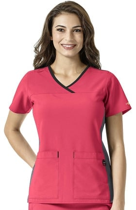 CROSS-FLEX by Carhartt Women's V-Neck Mesh Detail Solid Scrub Top