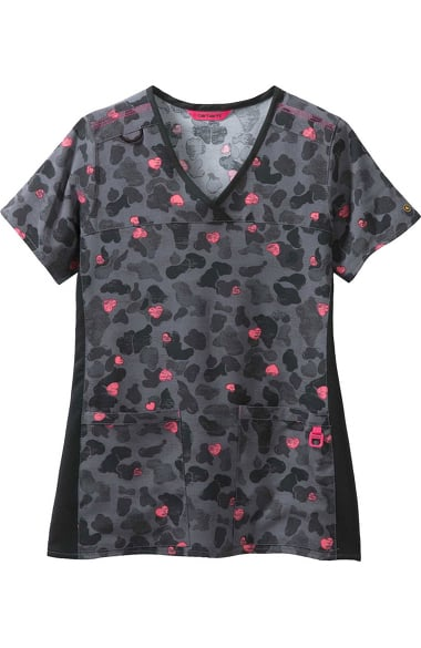 cd4658b50e2 CROSS-FLEX by Carhartt Women's V-Neck Heart Print Scrub Top. 1
