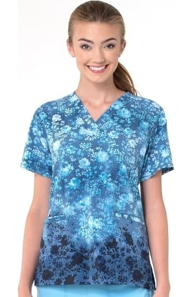 Clearance CROSS-FLEX by Carhartt Women's Indigo Country Print Scrub Top