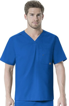 Clearance Rockwall by Carhartt Men's FORCE V-Neck Solid Scrub Top
