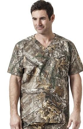 RealTree by Carhartt Men's V-Neck Camo Print Scrub Top
