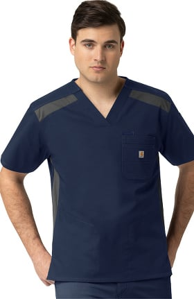 Rugged Flex by Carhartt Men's 2-Tone 6 Pocket Solid Scrub Top