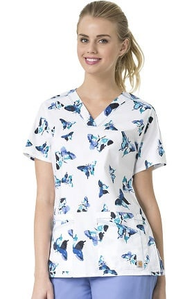 Clearance Rockwall by Carhartt Women's V-Neck Butterfly Print Scrub Top
