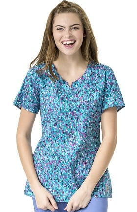 Rockwall by Carhartt Women's Mock Wrap Abstract Print Scrub Top