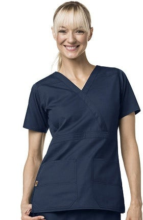 Clearance Ripstop by Carhartt Women's Mock Wrap Solid Scrub Top