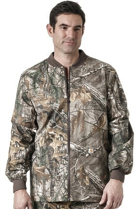 RealTree by Carhartt Men's Zip Front Abstract Print Scrub Jacket