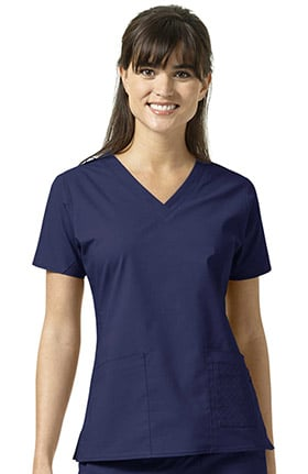 Signature Collection by Vera Bradley Women's Maya V-Neck Solid Scrub Top