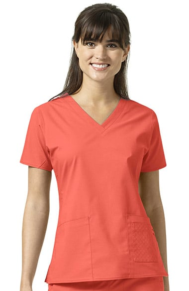fba090bce90 Signature Collection by Vera Bradley Women's Maya V-Neck Solid Scrub Top