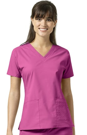 Clearance Signature Collection by Vera Bradley Women's Maya V-Neck Solid Scrub Top