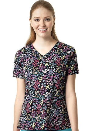 Signature Collection by Vera Bradley Women's Maya V-Neck Laos Ditsy Print Scrub Top