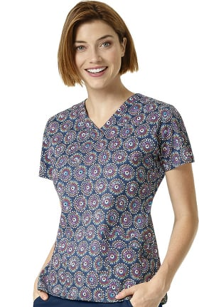 Signature Collection by Vera Bradley Women's Maya V-Neck Floral Print Scrub Top