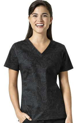 Signature Collection by Vera Bradley Women's Maya V-Neck Paisley Print Scrub Top