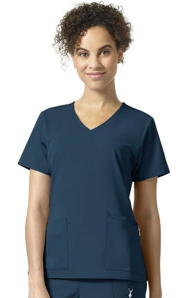 Halo by Vera Bradley Women's Nettie Classic V-Neck Solid Scrub Top