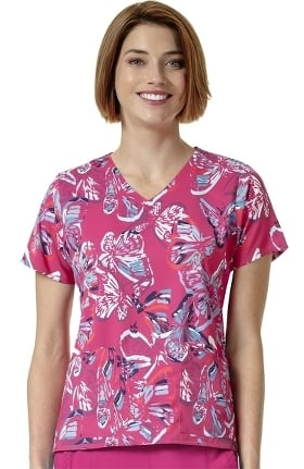 Halo by Vera Bradley Women's Nettie V-Neck Butterfly Print Scrub Top