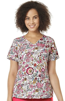 Halo by Vera Bradley Women's Nettie Foxwood White Print Scrub Top