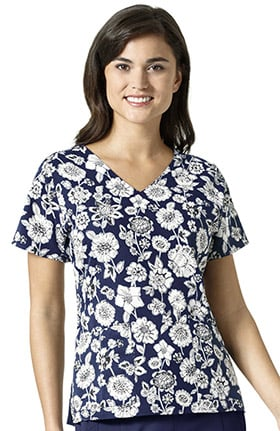Halo by Vera Bradley Women's Nettie V-Neck Heritage Floral Print Scrub Top