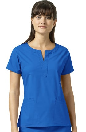 Signature Cotton by Vera Bradley Women's Linda Notch Neck Solid Scrub Top