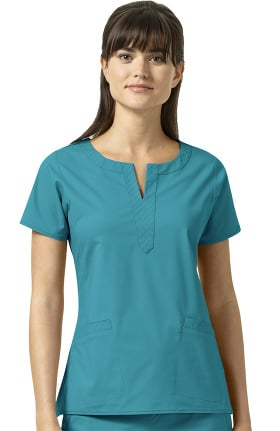 Clearance Signature Collection by Vera Bradley Women's Linda Notch Neck Solid Scrub Top