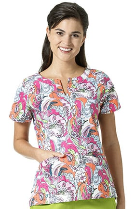 Signature Collection by Vera Bradley Women's Linda Notch Neck Paisley Print Scrub Top