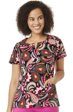 Signature Collection by Vera Bradley Women's Linda Painted Paisley Print Scrub Top