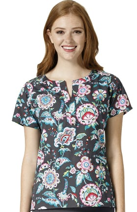 Signature Collection by Vera Bradley Women's Linda Notch Neck Floral Print Scrubs Top