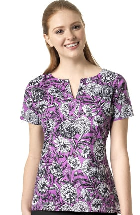 Signature Collection by Vera Bradley Women's Linda Notch Neck Violet Meadow Print Scrub Top