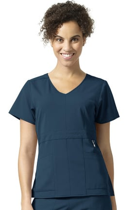 Clearance Halo by Vera Bradley Women's Frida V-Neck Empire Waist Solid Scrub Top