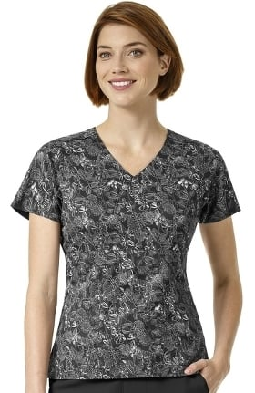 Halo by Vera Bradley Women's Dream V-Neck Empire Waist Floral Print Scrub Top