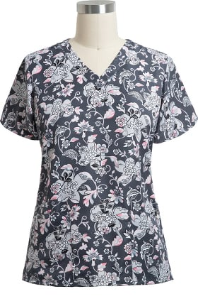 Halo by Vera Bradley Women's Audrey Holland Garden Print Scrub Top