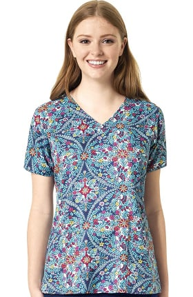Halo by Vera Bradley Women's Audrey V-Neck Kaleidoscope Scrub Top