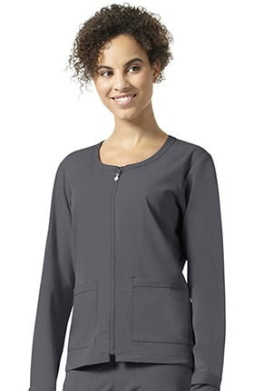 Halo by Vera Bradley Women's Julia Zip Front Warm Up Solid Scrub Jacket