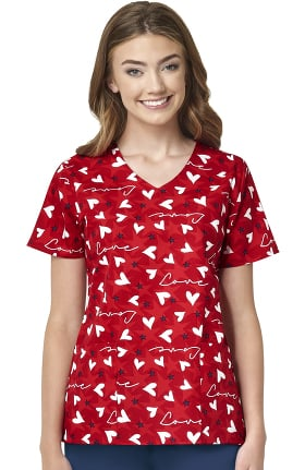 Clearance Zoe and Chloe Women's Americas Sweetheart Print Scrub Top