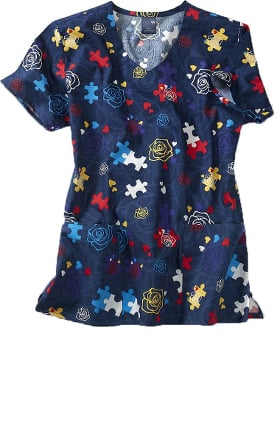 Zoe and Chloe Women's Different Is Beautiful Print Scrub Top