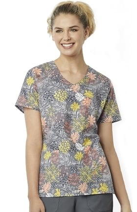 Zoe and Chloe Women's Autumn Love Story Print Scrub Top