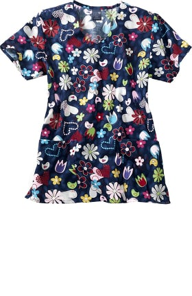 Zoe and Chloe Women's Bird Song Print Scrub Top