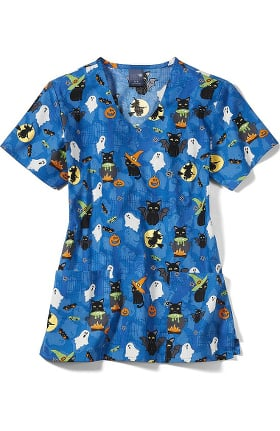 Clearance Zoe and Chloe Women's Bewitched Print Scrub Top
