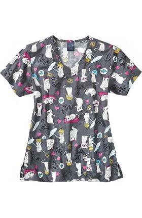 Clearance Zoe and Chloe Women's Cats Meow Print Scrub Top