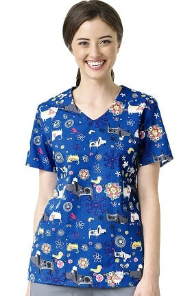 Clearance Zoe and Chloe Women's 2 Pocket V-Neck Cat Print Scrub Top