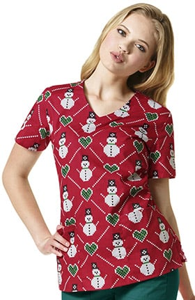 Zoe and Chloe Women's V-Neck Snowman Sweater Print Scrub Top